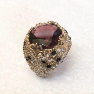 Vintage 925 natural garnet sapphire topaz Ring 8.5